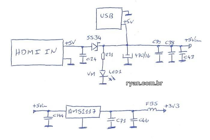 Splitter HDMI 1x2 Lontium diagrama da alimentação (parcial)
