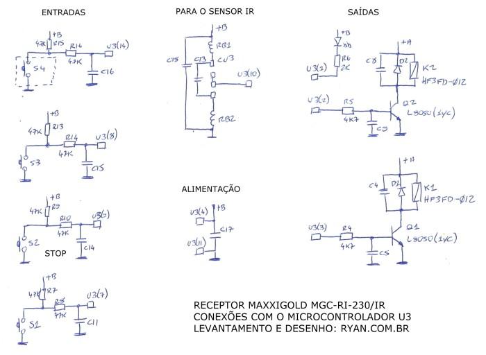esquema eletrônico do receptor Maxxigold MGC-RI-230/IR para telas de projeção elétricas